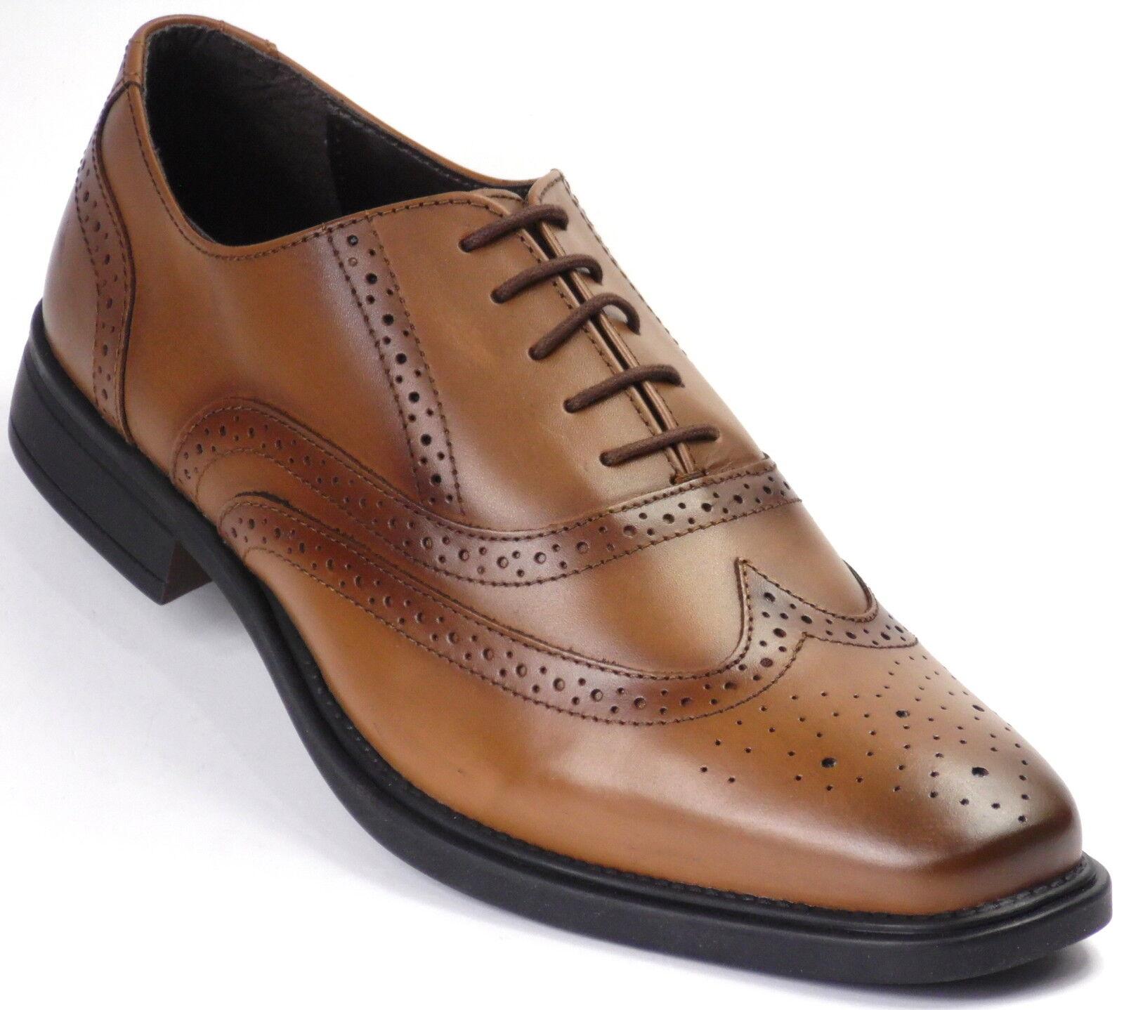 Shoeprimo Oxford Brogue Shoes Tan UVP 180 Leder Business Schuhe Halbschuhe 01