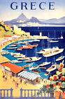 "Vintage Travel Poster CANVAS PRINT ~ Athens Greece Boat Harbour 8""X 12"""