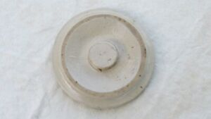 Antique-Primitive-5-StoneWare-Crock-Lid-Cream-Shiny-Glaze-5-1-2-034