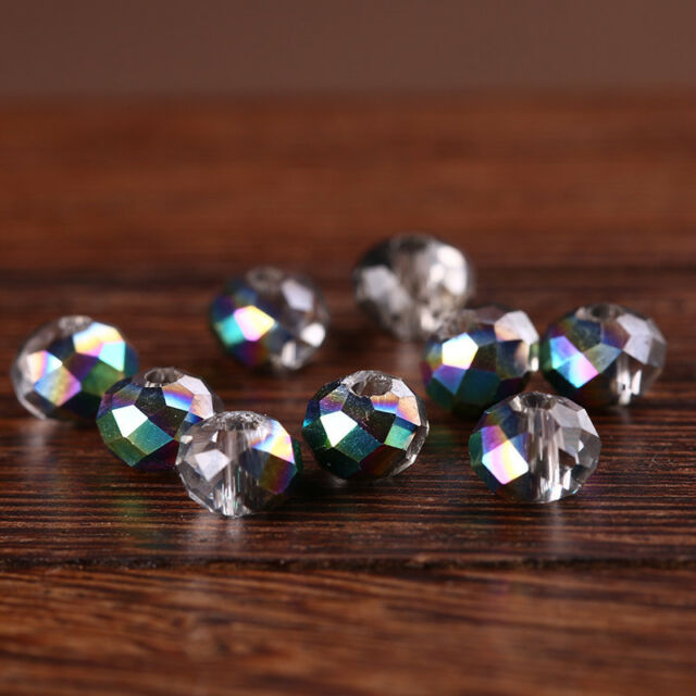50pcs 6x4mm Rondelle Faceted Crystal Glass Loose Spacer Beads Jewelry Findings