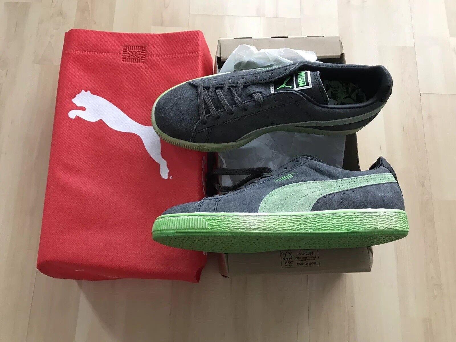 Puma Suede Lo Washed BRTS black fluo green Gr. 40,5 US 8 Neu OVP Sneaker Schuhe