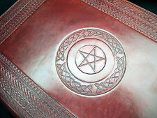 A4 PENTACLE Pagan Wicca Handmade Leather ALTAR BOOK Grimoire Book-of-Shadows
