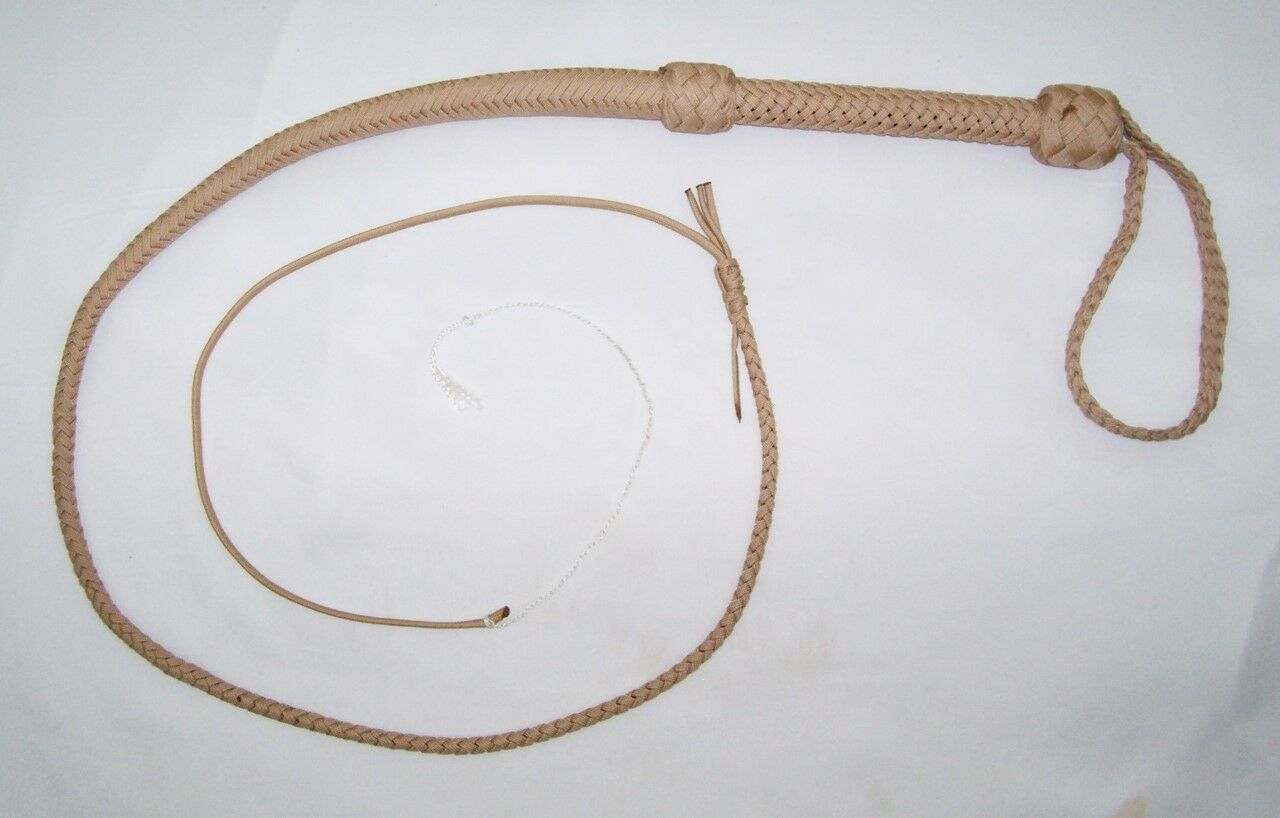 4 Foot 16 Plait TAN NYLON Wellweighted SHOT LOADED Real Bullwhip Whip  NY202