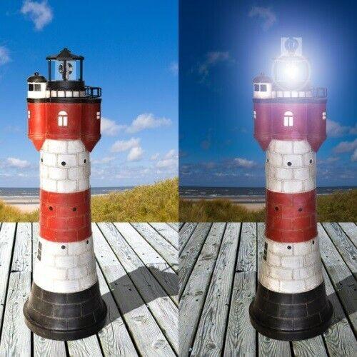 Leuchtturm XXL mit rotierendem Solar LED Licht und viel Liebe zum Detail 50 cm