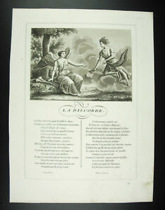 Discord-Deesse-Fables-Jean-From-La-Fontaine-1834-Engraving-Print-Xixth