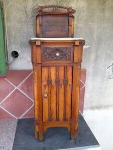 comodino vintage in legno colore noce con alzatina e piano ...