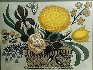 MCM Vintage D. Grose Artist Wood Block ? Print Framed Flowers 1970's Style Retro