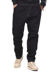 Mens-Jeans-Relaxed-Fit-Jean-Elastic-Waist-Pants-Drawstring-Black-Plus-Size-30-46