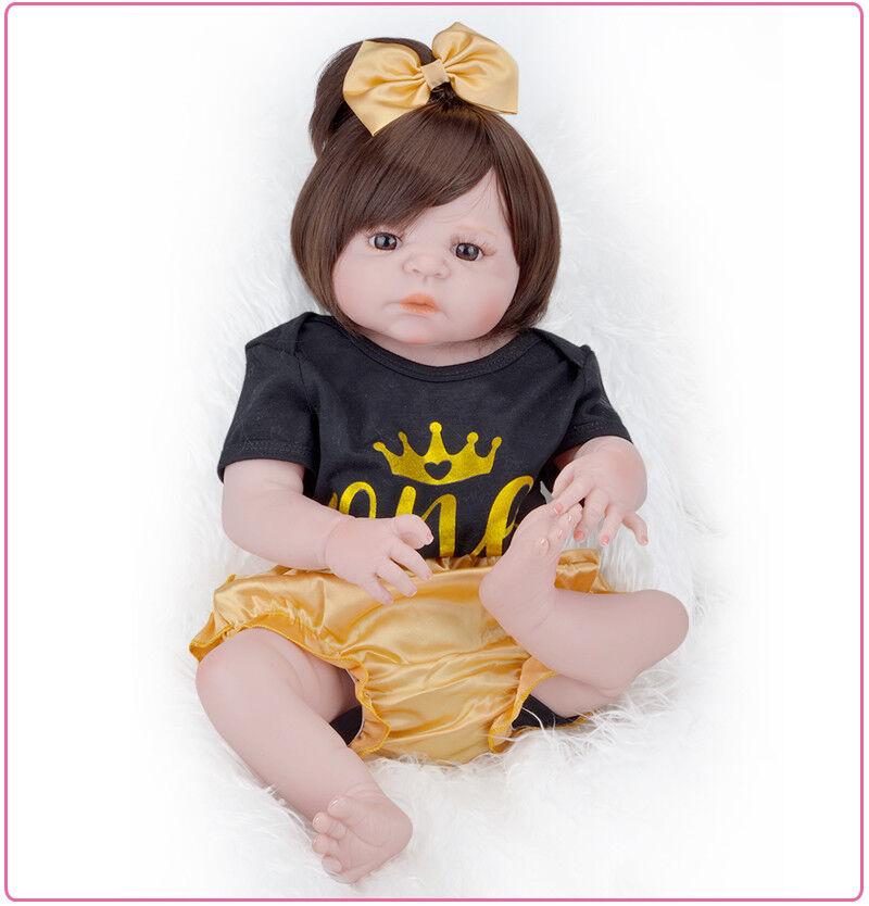 Cabello largo 55CM ojos marróns Reborn Baby Alive girl Boneca Reborn Silicona Completa