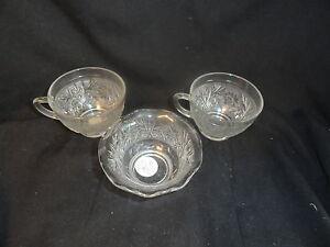 Crystal-2-Sandwich-Depression-Glass-Cups-amp-Crimped-Custard-Cup