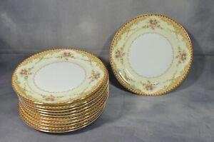 Set-Of-11-VINTAGE-Meito-China-DERBY-8-039-039-Dessert-Plates-Gold-Trim-Ivory-Floral