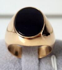 WERT 2.700,- EURO HERREN RING MIT ONYX IN 585 / 14 KT GOLD MASSIV 19,6 GRAMM