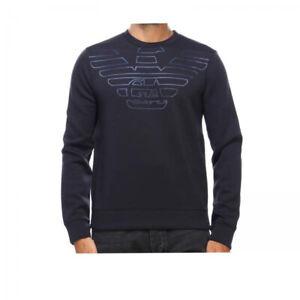 EMPORIO-ARMANI-felpa-uomo-blu-in-tessuto-tecnico-con-logo-aquila-sconto-55
