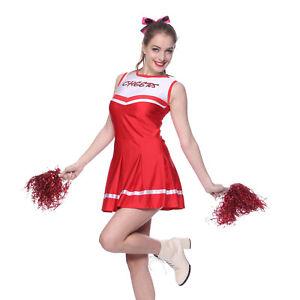 Ladies-High-School-Girl-Glee-Cheerleader-Outfit-Fancy-Dress-Uniform-w-Pompoms