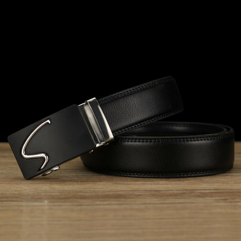 , Men Leather Belt Automatic Buckle Ratchet Waist Strap Jeans Dress Waistband 1pc