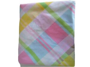 Pastel-Plaid-Pink-Green-Blue-Yellow-Full-Flat-Sheet-Sears-Perma-Prest-Percale