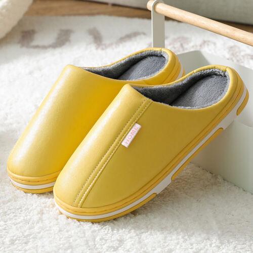 Gr 40-44 Hausschuhe Pantoffeln Damen Winter Warm Gefüttert PU Heim Slippers NEU