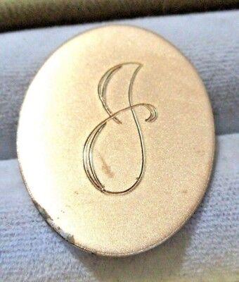 Gold Toned Etched Oval Letter U Monogram Magnet