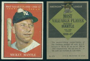 Image Is Loading 36400 1961 Topps 475 Mickey Mantle AL MVP