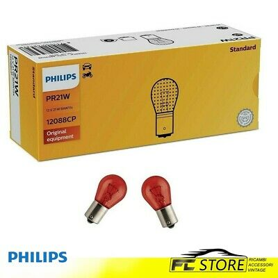 10 X Philips Lámpara Bombilla pr21w 12v 21w baw15s Rojo 12088cp 12088 Cp Lámpara