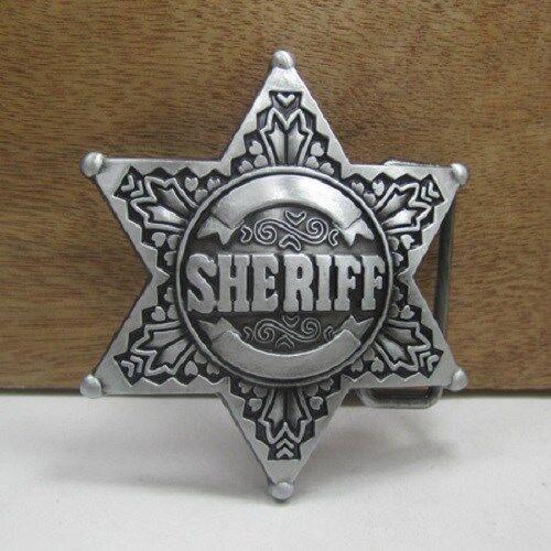 1 x mens belt buckle metal sheriff badge police western jeans cowboy fancy dress