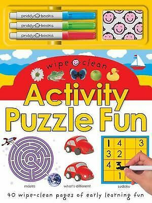 Wipe Clean Activity Puzzle Fun Board Book by Roger Priddy Pens Puzzles Game