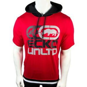 NWT-ECKO-UNLTD-AUTHENTIC-MEN-039-S-BLACK-RED-HOODIE-SHORT-SLEEVE-HOODED-T-SHIRT
