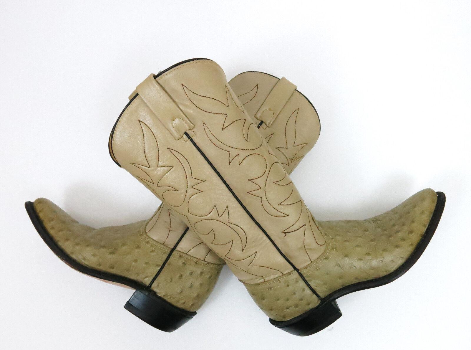 ACME Ostrich Grain Cowhide Western Cowboy Boots Vintage Leather Beige Cream 5 A