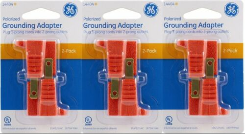 TWO pack GE 14404 Polarized Grounding Adapter Orange