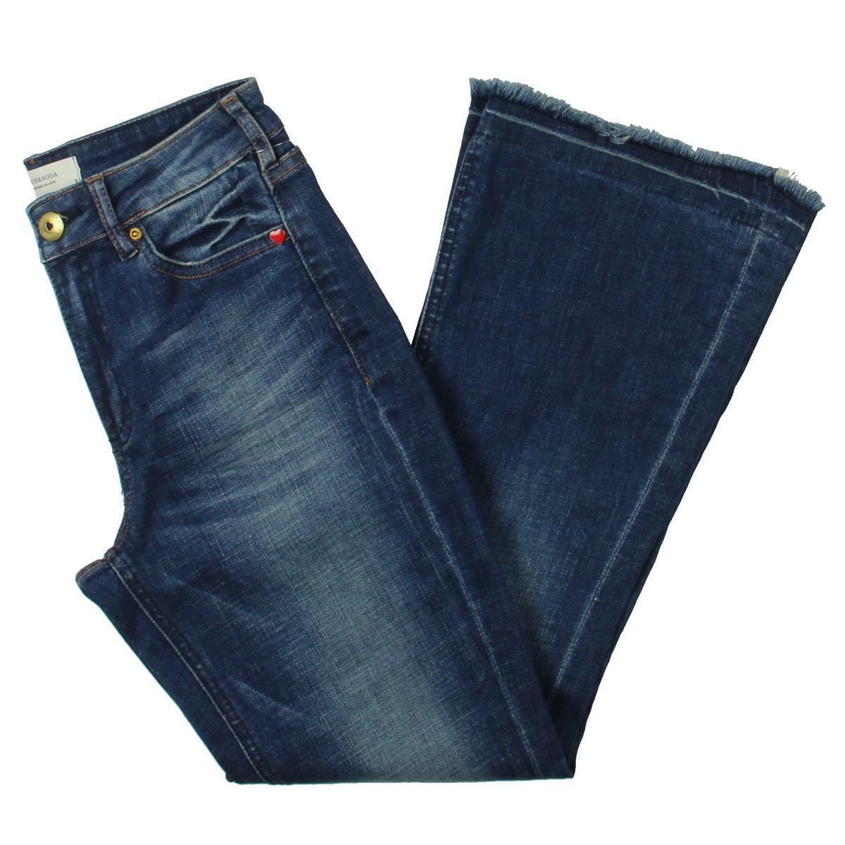 Scotch & Soda Womens bluee Mid-Rise Embellished Flare Jeans 31 32 BHFO 2820
