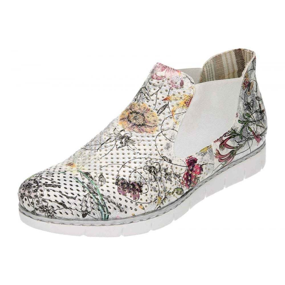 Rieker Flat Pull On Ankle Perforated Funky Schuhes Pumps Multi WEISS M1397-90