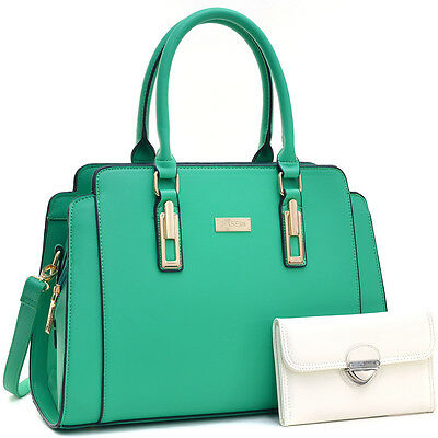 Dasein Fashion Faux Leather Gold-Tone Satchel Shoulder bag Wallet Set