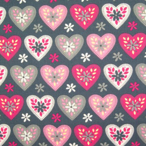 100/% Cotton Poplin Rose /& Hubble HEART /& DAISY PINK SILVER Material Metre FQ