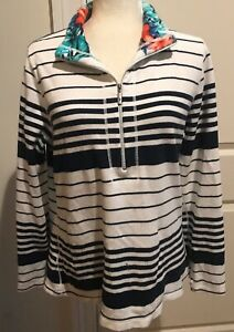 Tommy-Bahama-Womens-Medium-1-4-Zip-Pullover-Sweater-Striped-Blue-White-Nautical
