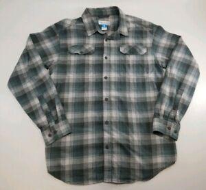 Columbia Omi Wick Men's Gray Green Plaid Button Down Long Sleeve Shirt Sz Large