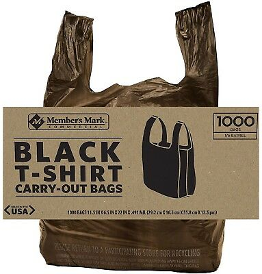 1000 Ct Black Commercial T Shirt Carryout Bags Retail Grocery S 729161650236 Ebay