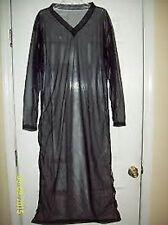 """BLACK SHEER NYLON CAFTAN LOUNGE DRESS * 48"""" Chest * 55"""" Length* Men Women Large"""