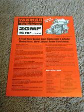 Yanmar Marine Diesel Engine 2GMF 15 HP Dealer Sales Brochure Sheet Specification