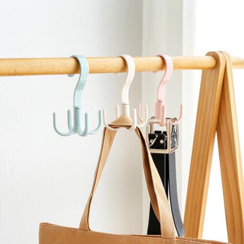 360 rotated 4 Hook Plastic Hanger Handbag Holder Shelf Rack Organizer