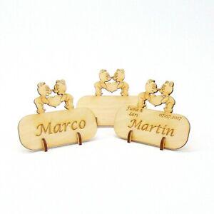 Tischkarte Namensschild Ornament Herz mit Banner Hochzeiten Platzkarte aus Holz