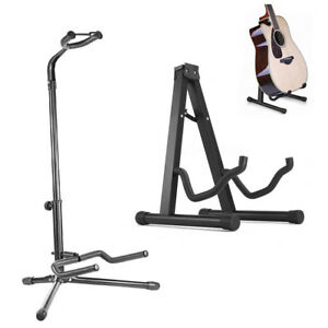 portable folding guitar stand electric acoustic bass gig floor rack holder a b ebay. Black Bedroom Furniture Sets. Home Design Ideas