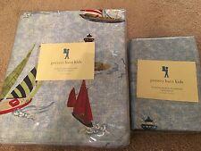 New Pottery Barn Kids Nautical Sailboat Twin Duvet Cover And Pillowcase Regatta