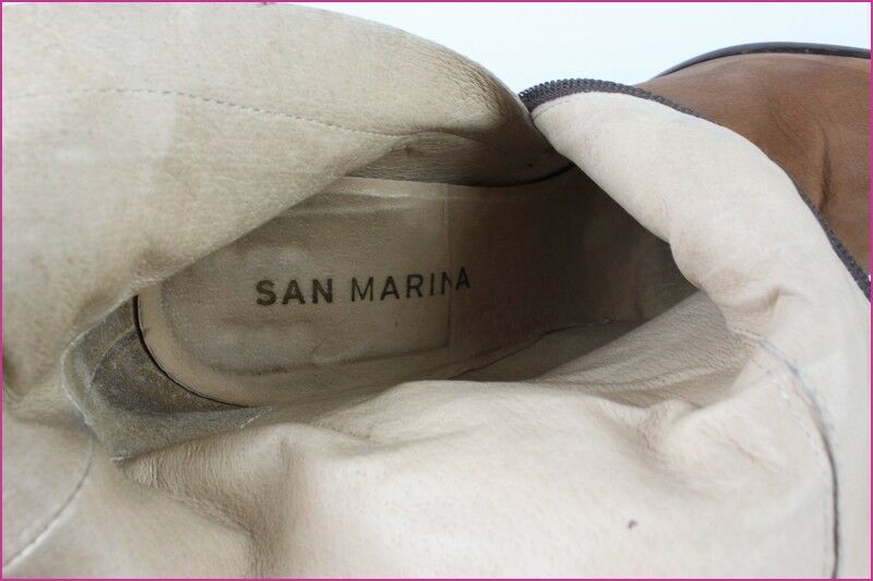 Boots Booties SAN SAN SAN MARINA Leather Hide Brown T 39 VERY GOOD CONDITION 4a93f3