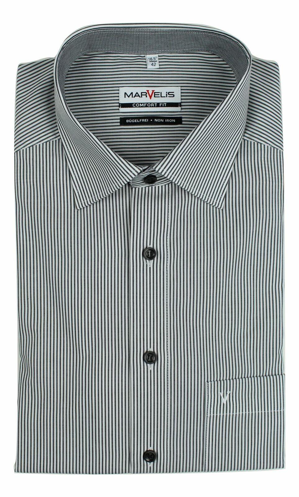 Charcoal Stripe Contrast Spread Collar