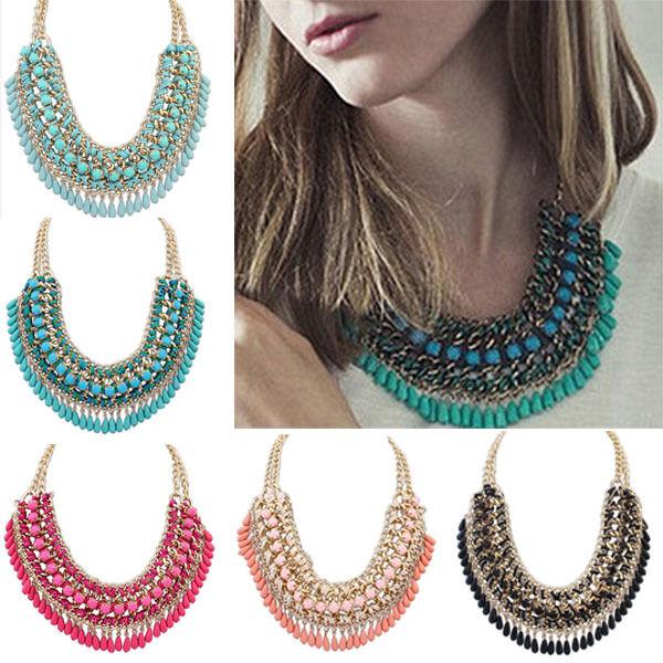 Chic Fashion Jewelry Pendant Chain Crystal Choker Chunky Statement Bib Necklace
