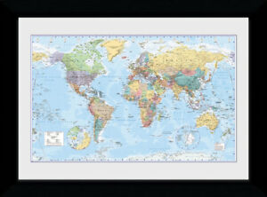 Details about World Map Political Country Capitals 2017 50x70cm Framed  Collector Print