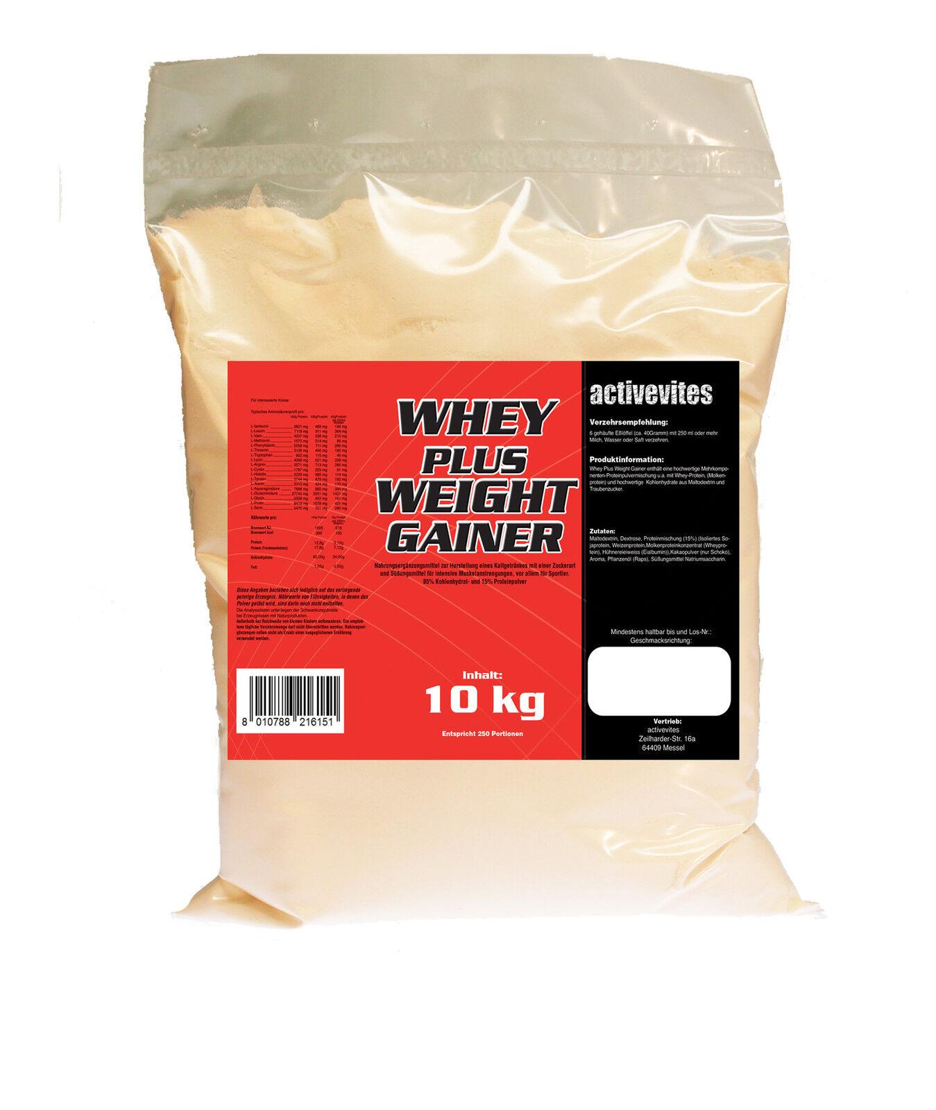 /kg mehr Allfitnessfactory-DE Masse GAINER 10kg mit Molke Protein mehr /kg Masse 60969e