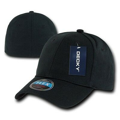 Black Plain Solid Blank Flex  Baseball Fit Fitted Ball Cap Caps Hat Hats OSFA