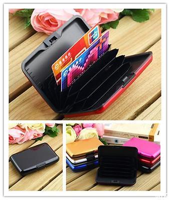 WO AU Women/Men Candy Color Aluminum Hard Case Smooth/Stripes Credit Card Wallet