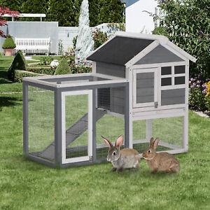 "48"" Rabbit Hutch Cage Bunny House Wooden Habitat Pet Small Animal w/ Tray & Ramp"